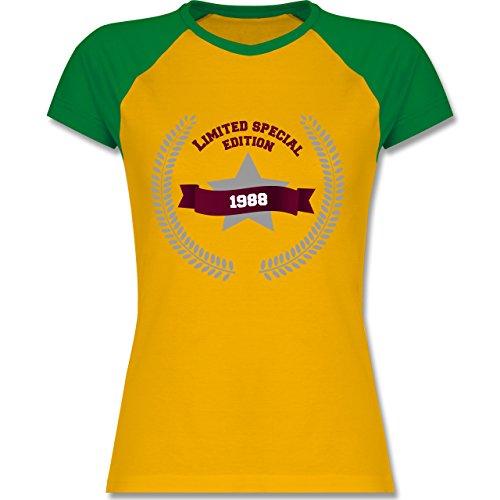 Shirtracer Geburtstag - 1988 Limited Special Edition - Zweifarbiges Baseballshirt/Raglan T-Shirt für Damen Gelb/Grün