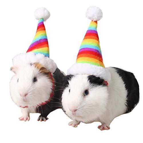 Katze Kaninchen Kostüm - Isuper Kleine Haustiere Hut Weihnachten Regenbogen Hut Santa Claus Kostüm Requisten Zubehör für Katze Kaninchen Hamster und Meerschweinchen