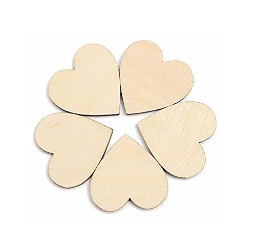 ricisung Uni Holz Knöpfe Verzierungen für das Handwerk Dekoration/Rustikale Hochzeit, Nähen Basteln DIY, Heart -30mm-50pcs (Hochzeit Rustikale Diy)