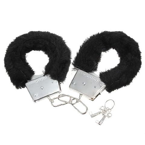 Black Sexy Soft Furry Steel Fuzzy Fur Wrist Handcuffs Dress Valentines love Gift Toy