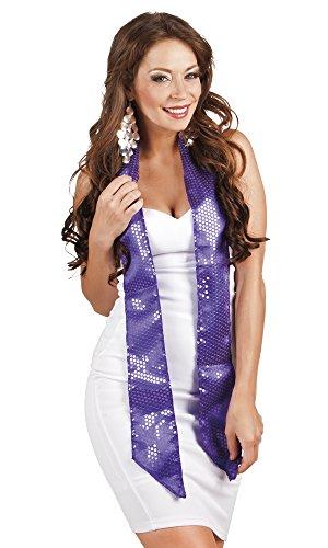 Confettery - Kostüm Ladys Schärpe Schal mit glänzenden Pailletten, Lila (Silber Pailletten Kurze Kleid Für Frauen)