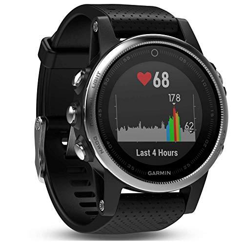 Garmin Fenix 5S - Reloj multideporte, con GPS y medidor de frecuencia cardiaca, lente de cristal y bisel de acero inoxidable, 42 mm, Plata/Negro