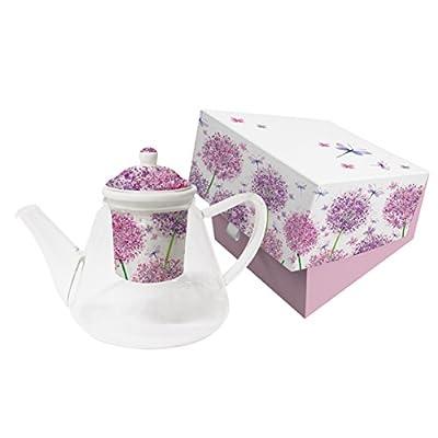 """Théière verre """"Dandelion"""" avec la Chine, passoire à thé et lavande déco"""