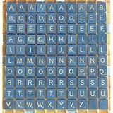 100 Plastic Scrabble Letter Tiles - Blue & White Color - Complete Set by Kids Mandi