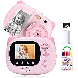 Ymiko Appareil Photo Instantané Numérique pour Enfants 15 MP 1080P HD Instant Camera Ecran de 2,4 Pouces Autofocus WiFi Sync Antichoc Comprend 3 Rouleaux de Papier Photo Le Français Chargement USB