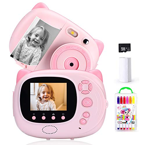 Sofortbildkamera,Kinderkamera Digitale Kamera für Kinder 15MP 1080P HD Instant Print-Kamera 2,4 Zoll Display Autofokus WiFi Sync,Inklusive 3 Fotopapiere,Rosa