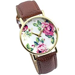 JS Direct 1x Womens Ladys Quartz Watches, PU Leather Strap, Retro Style, Daily Waterproof, Classic Coffee Band
