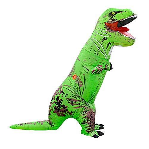 (Foru-1 Aufblasbares Dinosaurierkostüm für Erwachsene, T-Rex, Halloween, Cosplay-Anzug, Grün)