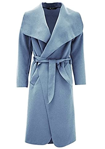 Vanilla Inc ® Ladies Womens PLUS SIZE Shawl Collar Trench Coat Top UK SIZE 8-20 (UK SIZE S/M(8-10), SKY BLUE)