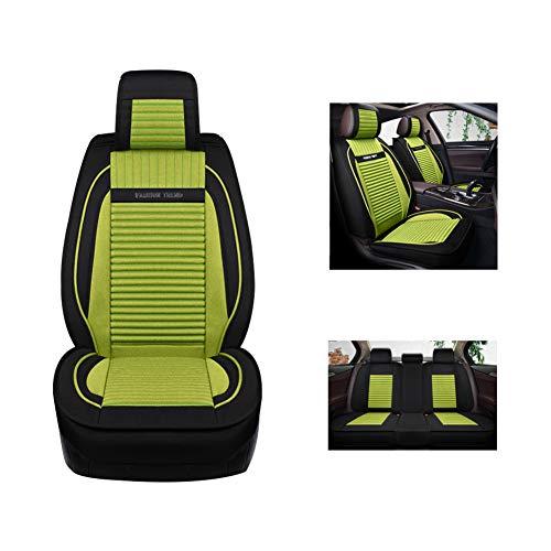 Autositzkissen, Leinenmaterial mit vollständigem Sitzbezug, atmungsaktiv und bequem, rutschfester Universal-Sitzbezug mit fünf Sitzen,Green