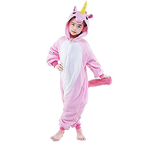 CuteOn Unisex Kinder Einhorn Pyjama Tier Strampelanzug Flanell Schlafanzug Cosplay Kostüm Rosa 125(Empfohlen Höhe 135cm-145cm) (Strampelanzug Pyjama Mädchen)