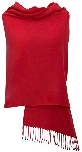 Rot Pashmina Stola Schal Tuch – Super Weich – 34 Schöne Farben - Hergestellt in Italien – Exklusiv von Pashminas & Wraps aus London - Luxuriös und Elegant