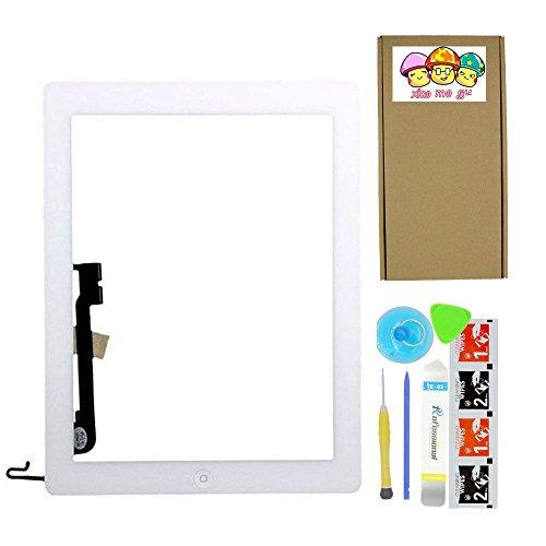 XIAO MO GU Komplett Touch Screen Digitizer für iPad 4 weiß Kit Vormontierte Glass + Home-Taste + Home Flex und beiliegende Kontur (Modell A1458, A1459, A1460) (Digitizer 4 Ipad)