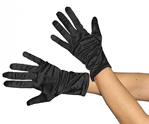glänzende schwarze Handschuhe 20er Jahre Damen Fasching Kostüm ()