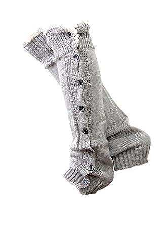 Vococal® Femmes Filles Tricot Plat 8 Boutons Dentelle Crochet Garniture