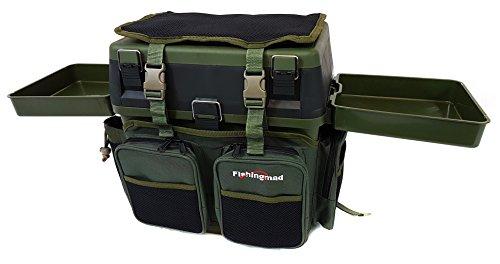 Fishingmad Angelbox/Angelkasten mit Sitz und Seitenablagen und Rucksack-Option, Seat Box with 2 Side Trays and Backpack Carrier -
