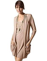 Chillytime Damen Kleid mit Taschen Minikleid 3/4 Arm Strickkleid in 2 Farben Gr. XS 32