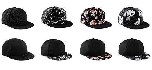 ASVP Shop® Baseball Cap Flat Peak Snapback Hat Rapper Hip Hop Pattern Floral Mens Womens