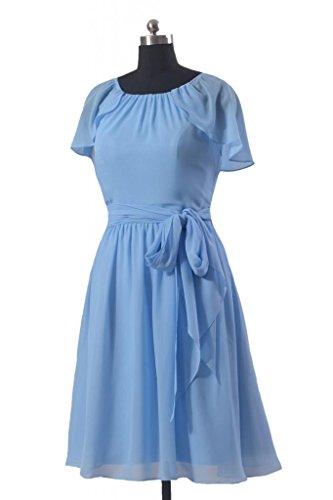 daisyformals Vintage Robe de demoiselle d'honneur courte robe w/Flutter manches (bm1462) Bleu - #38-Cornflower