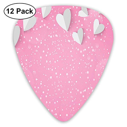 Celluloid Guitar Picks - 12 Pack,Abstract Art Colorful Designs,3D Style Valentines Hearts As Butterfly Wings Magical Love In The Air,For Bass Electric & Acoustic Guitars.