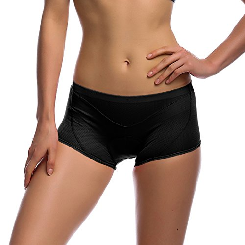 41zQt7v1uBL BEST BUY UK #1iCreat Womens Cycling Shorts Bicycle Pants High Air Permeability Equestrian Undershorts Underwear Unisex with 3D Breathable Soft Pad S Black