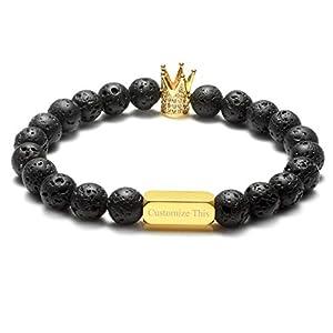 Zysta Kundenspezifische Gravur- Paar Schmuck Set 8mm Lavastein/Weiß HowlitePartnerarmbänder König Königin Perlen Buddha Armband mit Goldem Rechteck für Pärchen Geschenke