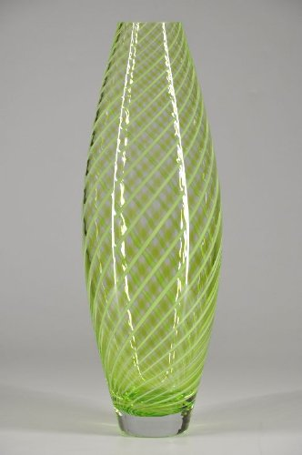 Intricate, Hand-blown, Glass Vase, Clear / Green, Murano Art, Living Room, Hand-made
