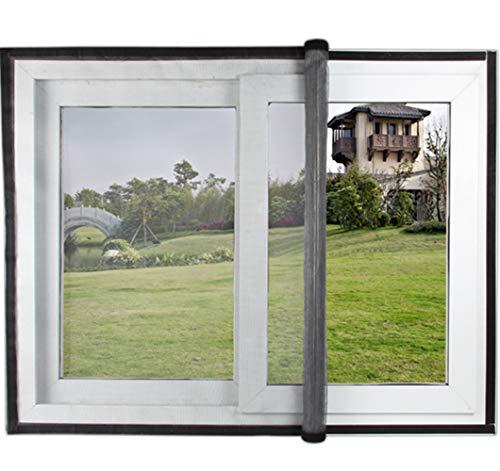 Mitef Fensterschutznetz Fiberglas neues patentiertes Produkt unsichtbares Moskitonetz mit Stange und Klettband zum einfachen Öffnen und Schließen, grau -
