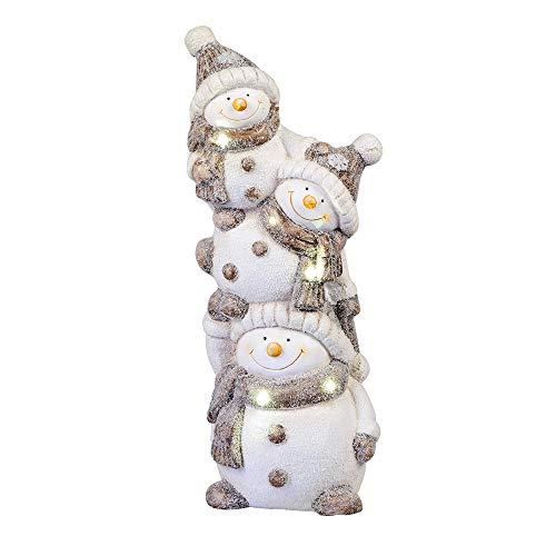 formano LED Dekofigur Schneemann Trio Winterzeit H. 55cm weiß grau W19