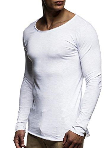 LEIF NELSON Herren Pullover Rundhals-Ausschnitt | Schwarzer Männer Longsleeve | dünner Pulli Sweatshirt Langarmshirt Crew Neck | Jungen Hoodie T-Shirt Langarm Oversize | LN6302 Weiß Medium