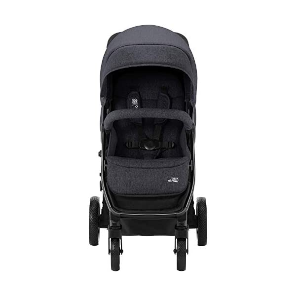 Britax Römer B-Agile M Stroller Pushchair, Birth to 4 Years (22kg), Black Shadow Britax Römer Compatible with all Britax Römer infant carriers with optional adapters as well as the Britax Römer carrycot Lie-flat backrest - suitable for a soft carrycot Large protective hood with viewing window and upf 50+ sun protection 2