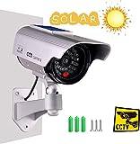 Tech Traders étanche à énergie Solaire Faux Sécurité factice d'extérieur Maison Caméra de vidéosurveillance avec éclairage LED-Argent