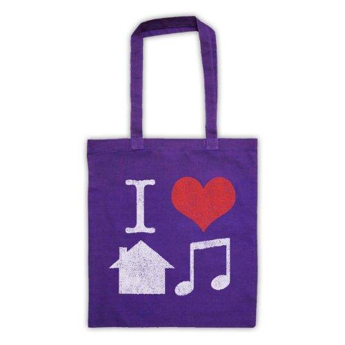 I Love House Music Slogan Tote Bag Viola