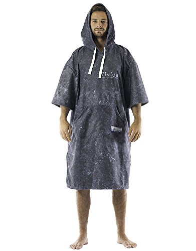 Vivida Lifestyle Poncho mit Kapuze Handtuch und Umziehilfe am Strand, beim Surfen und Schwimmen verwendbar - Black Marble, L (Erwachsene)