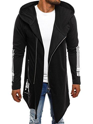 OZONEE Herren Kapuzenpullover Hoodie Sweatshirt Pullover Assassin´s Sweatjacke ATHLETIC 0899 SCHWARZ M
