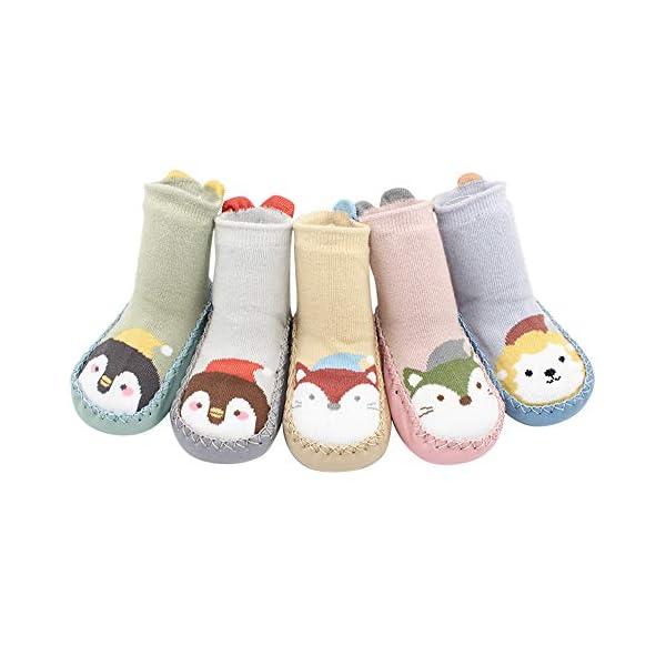 MAYOGO Calcetines Zapatos Antideslizantes para Bebé Calcetines Largos Antideslizantes Estampado Animal para Niñas… 1
