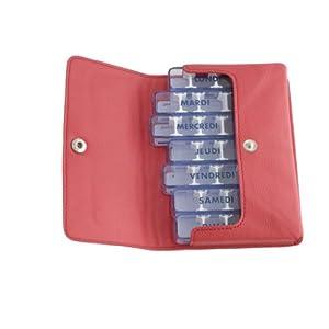 """Medikamentendosierer, medidos-simili, rot, Hinweisschildern in Französisch, Federmäppchen, Taschenformat, 7Tage einzelnen, 28individuell unterteilbar, für Medikamente Wenig voluminös. Schutzhülle Ultra Weich, hautsympathisch. Dimension der Federmäppchen, enthält 7Boxen: 15,5x 10x 2cm. Maße des jede Dose 4Fächer: 9,5x 2x 1,7cm. Maße je Fach: ca. 1,5x 1,5x """"Modular cm. Gesamtgewicht leer 138gr."""