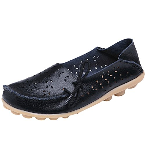 Vogstyle Damen Casual Slipper Flatschuhe Low-top Schuhe Erbsenschuhe Schwarz-Art 2