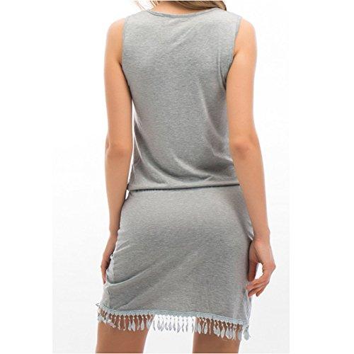 JXLOULAN Femmes Deep V-cou sans manches irrégulière Vest Top Tassel Mini-robe Robe de plage Gris