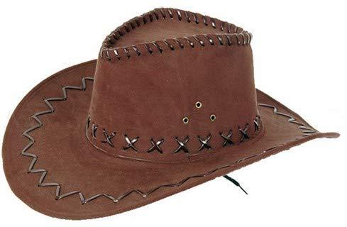 Cappello da cowboy stile western texas australiano marrone (C-04) unisex in  camoscio rifinitura pelle accessorio carnevale travestimento festa tempo  libero ... 86c813abb2b6
