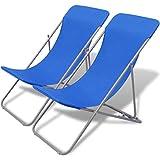 vidaXL Set Sedia da Spiaggia Sdraio Prendisole Mare Piscina Pieghevole Blu 2pz