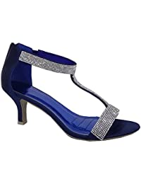 c07e19e8007237 Krasceva Womens Ladies mid Low high Heel Strappy t bar Party Wedding Prom Sandals  Shoes Size