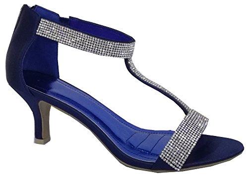 Krasceva - Scarpe da donna, tacco a rocchetto, con cinturino a T, adatte a festa, nozze, ballo, blu (Navy blue), 35.5