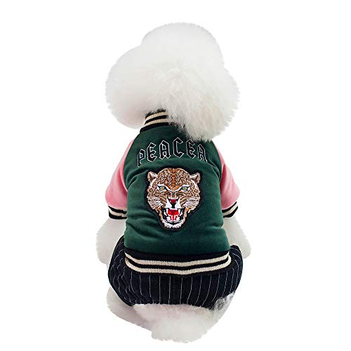 (Fenverk Katze Hund Mantel Jacke Haustier VorräTe Kleider Winter Bekleidung HüNdchen KostüM Schick Kleid Outfit Bezaubernd Passen Korsar Verkleidung Weihnachten Party(Grün,L))