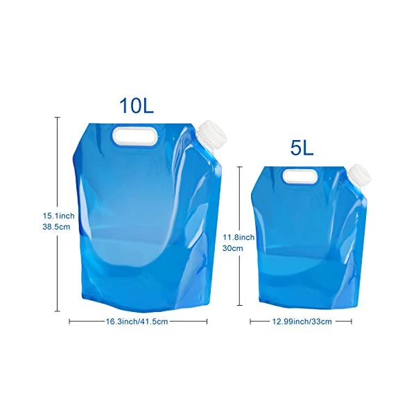 Aboat 2 Pack 5L/ 10L Water Carrier Folding Drinking Water Container, Outdoor Folding Water Bag Car Water Carrier Container for Sport Camping Hiking Picnic BBQ 2