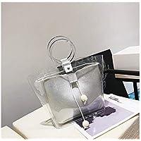 AGOPO Mode Bolso de tocador Transparente de PVC Bolso Grande de Maquillaje cosmético Transparente para Mujer (en Color Negro) para niña Dama (Color : Silver, tamaño : 33x11x22cm)