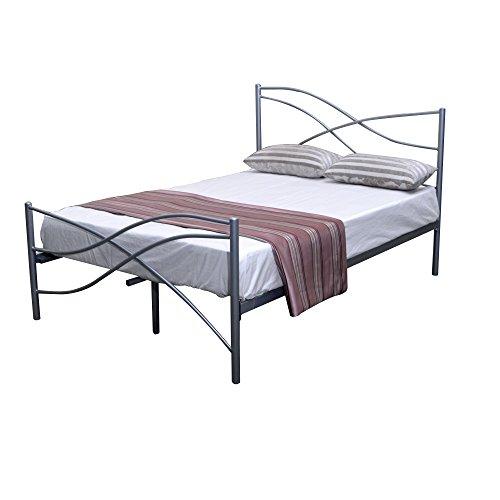 Kian Italian Design 4ft6 Silver Double Metal Bed Frame ON SALE