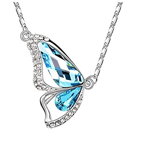 The Starry Night Blue Crystal Butterfly Lovers Diamond Accented Silver Plated Fashion Insect Necklace by The Starry