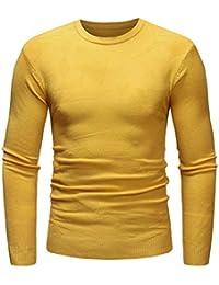 Yvelands ¡Liquidación Slim Fit Basic de Punto Manga Larga O-Neck Jersey suéteres Outwear