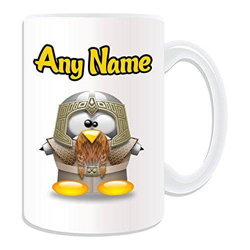 chenk, großer Gimli Tasse (Pinguin Film Charakter Design Thema, weiß)–Jeder Name/Nachricht auf Ihre Einzigartiges–Kostüm Film Superheld Hero The Hobbit Herr Der Ringe Zwerg Warrior Tolkiens Welt Gefährten (Zwerg Kostüm Der Hobbit)